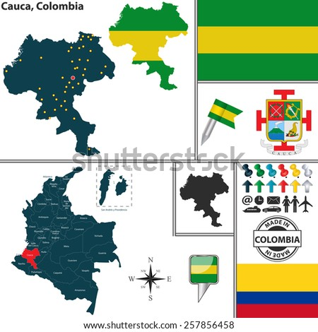 Vector map of region of Cauca with coat of arms and location on Colombian map - stock vector