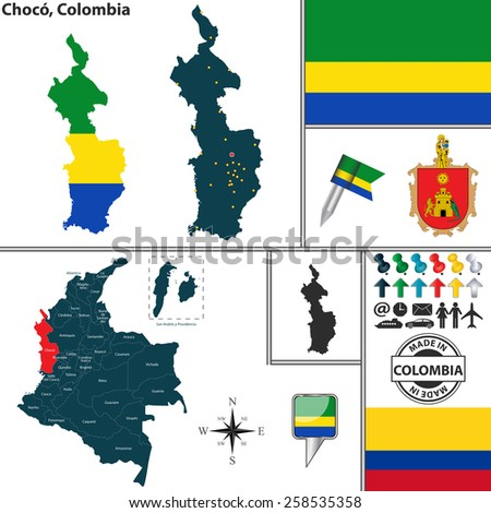 Vector map of region of Choco with coat of arms and location on Colombian map - stock vector