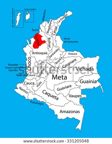 Vector map of region of Cordoba, Colombia editable vector map. Administrative divisions of Colombia editable map. - stock vector