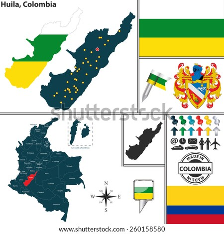 Vector map of region of Huila with coat of arms and location on Colombian map