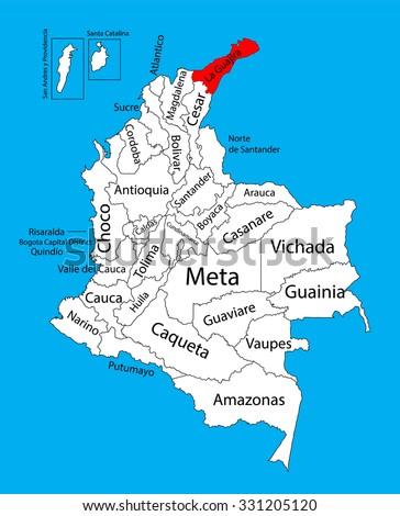 Vector map of region of La Guajira, Colombia editable vector map. Administrative divisions of Colombia editable map. - stock vector
