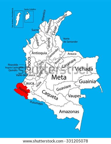 Vector map of region of Narino, Colombia editable vector map.  Administrative divisions of Colombia editable map. - stock vector