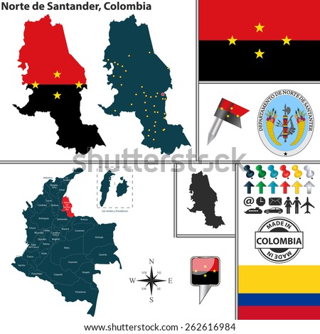 Vector map of region of Norte de Santander with coat of arms and location on Colombian map - stock vector