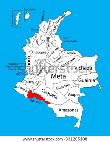 Vector map of region of Putumayo, Colombia editable vector map. Administrative divisions of Colombia editable map.  - stock vector