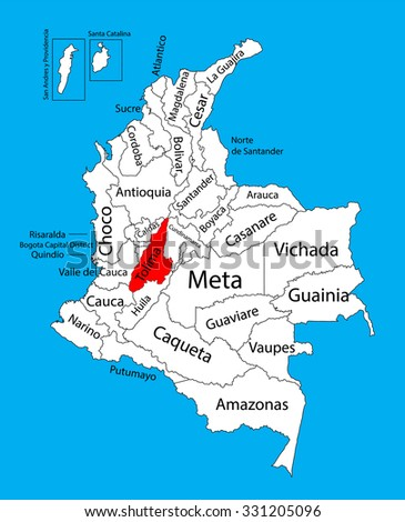 Vector Map Region Tolima Colombia Editable Stock Vector 331205096