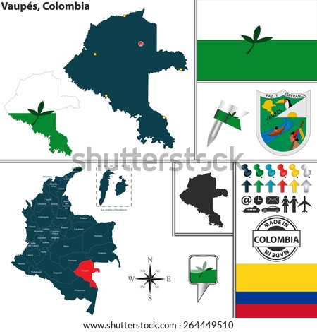 Vector map of region of Vaupes with coat of arms and location on Colombian map - stock vector