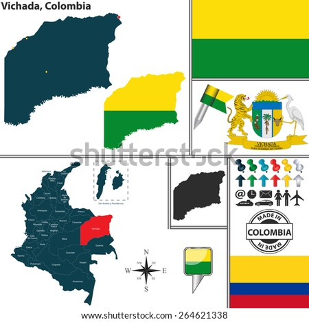 Vector map of region of Vichada with coat of arms and location on Colombian map - stock vector
