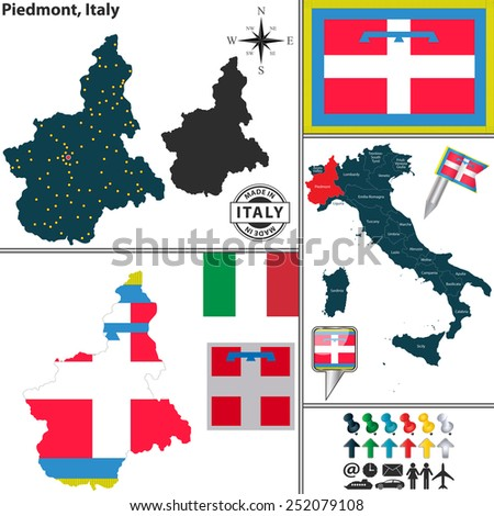 Vector map of region Piedmont with coat of arms and location on Italy map