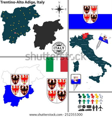 Vector map of region Trentino-Alto Adige with coat of arms and location on Italy map - stock vector