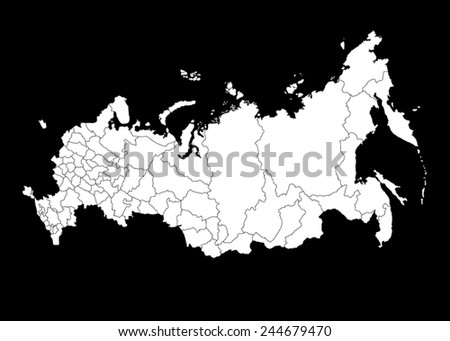 Vector Map of Russia on black background - stock vector