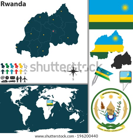 Vector map of Rwanda with regions, coat of arms and location on world map - stock vector