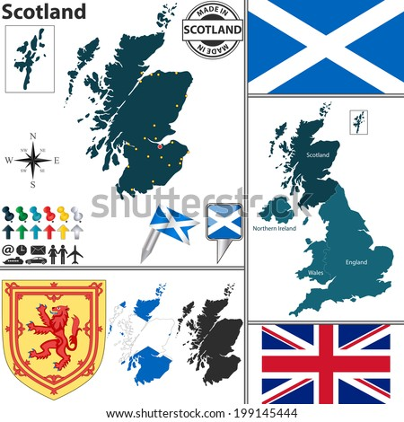 Vector map of Scotland with regions, coat of arms and location on United Kingdom map - stock vector