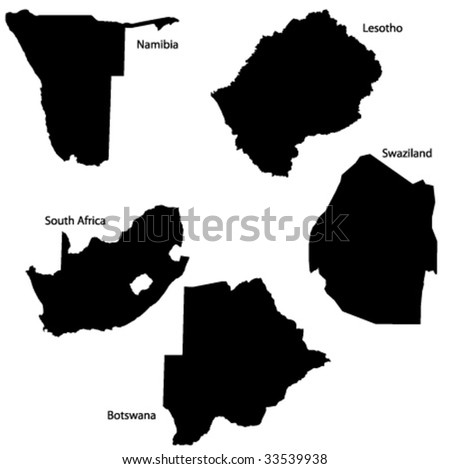 Vector map of South Africa countries - stock vector