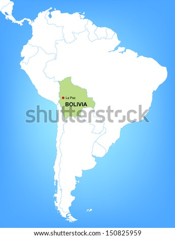 Vector Map South America Highlighting Country Stock Vector - Map of bolivia