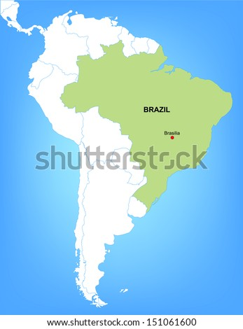 Vector Map of South America Highlighting the Country of Brazil; Illustrator 8 - stock vector