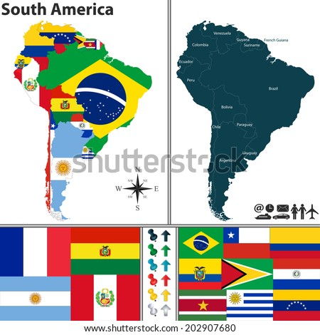 Vector map of South America with flags and location on world map - stock vector