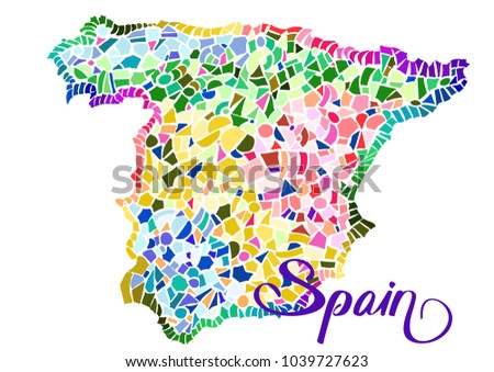 Vector map spain multicolored tiles background stock photo photo vector map of spain with multi colored tiles background in art nouveau modern gumiabroncs Gallery