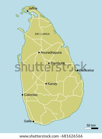Vector Map Sri Lanka Important Cities Stock Vector 681626566