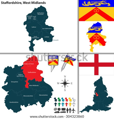 Vector map of Staffordshire in West Midlands, United Kingdom with regions and flags - stock vector