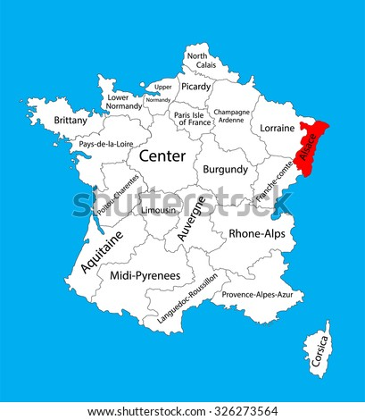 Vector map of state Alsace, France vector map. Alsace provence in France.