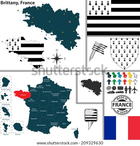 Vector map of state Brittany with coat of arms and location on France map - stock vector