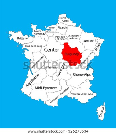 Vector map of state Burgundy, location on France. France vector map.