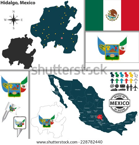 Vector map of state Hidalgo with coat of arms and location on Mexico map