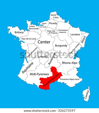 Vector map of state Languedoc-Roussillon, location on France. France vector map.