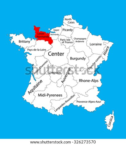 Vector Map State Lower Normandy Location Stock Vector 326273570