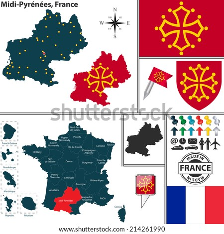 Vector map of state Midi-Pyrenees with coat of arms and location on France map - stock vector