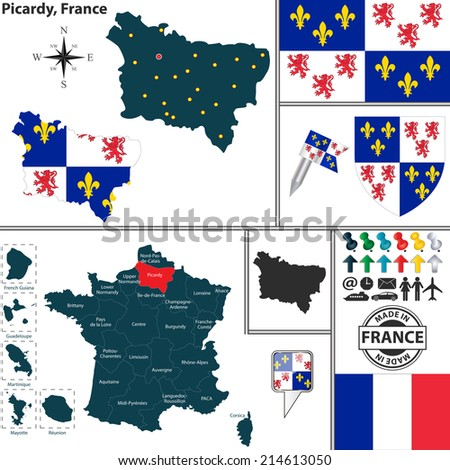 Vector map of state Picardy with coat of arms and location on France map - stock vector