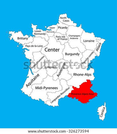 Vector map of state Provence-Alpes-Cote dAzur , France vector map. Location on France.