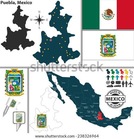 Vector map of state Puebla with coat of arms and location on Mexico map