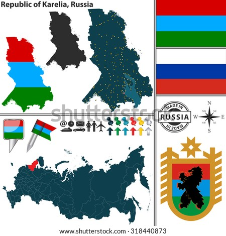Vector map of state Republic of Karelia with coat of arms and location on Russian map