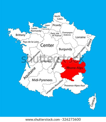 Vector map of state Rhone-Alpes, location on France vector map.