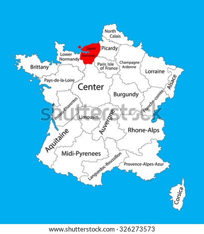 Vector Map State Upper Normandy Location Stock Vector - France on map