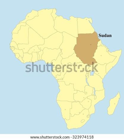 Vector map of Sudan in Africa  - stock vector