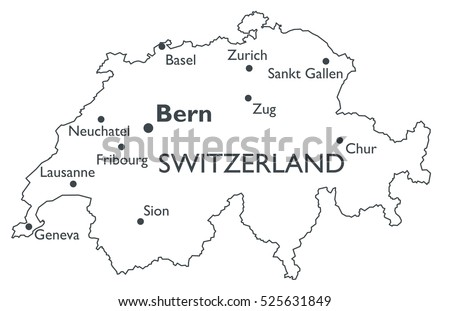 Vector Map Switzerland Monochrome Contour Map Stock Photo Photo