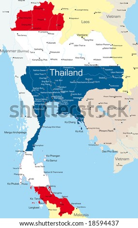 Vector map of Thailand country colored by national flag - stock vector