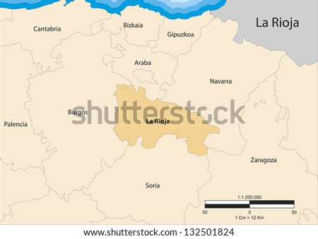 Vector map of the autonomous community of La Rioja. Spain. - stock vector