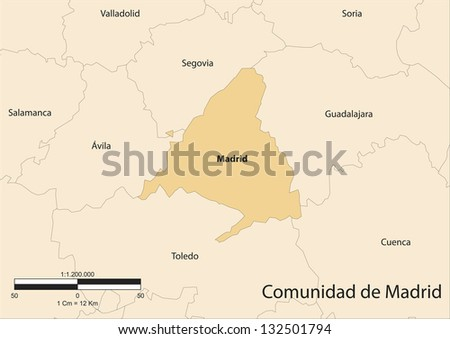 Vector map of the autonomous community of Madrid. Spain. - stock vector
