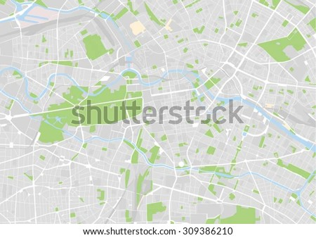 vector map of the city center of Berlin, Germany - stock vector