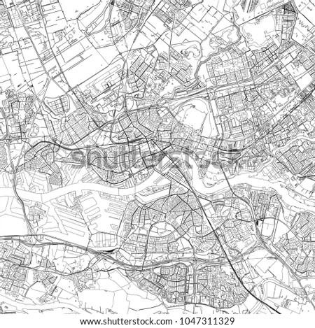 Vector Map City Rotterdam South Holland Stock Vector 1047311329