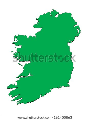 Vector Map of the Country of Ireland; Illustrator 8