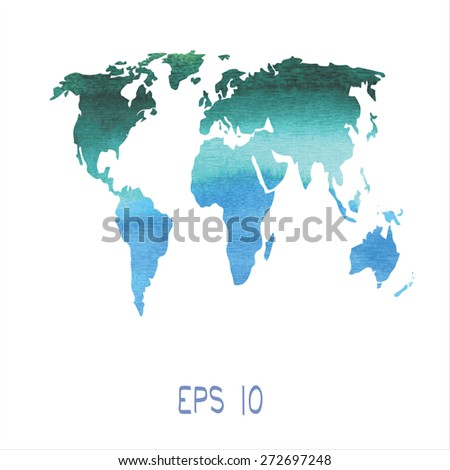 Stock images royalty free images vectors shutterstock vector map of the earth painted in watercolor gumiabroncs Choice Image