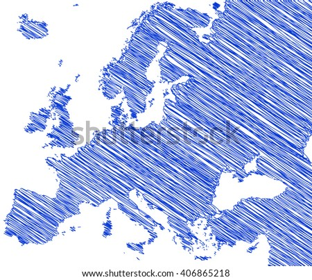 vector map of the Europe drawing in blue marker on a white background. Sketch  for infographics, brochures and presentations - stock vector