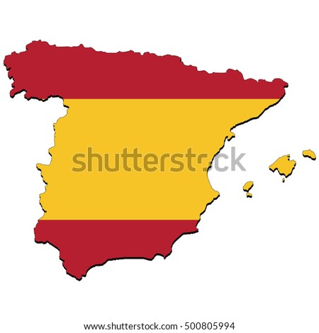 Vector map of the flag of the Spain