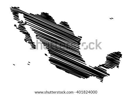 vector map of the Mexico drawing in black marker. sketch Mexico map for infographics, brochures and presentations - stock vector
