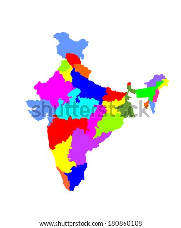 Vector map of the Republic of India with the states colored in bright colors.India vector map, high detailed illustration, isolated on white background.  - stock vector