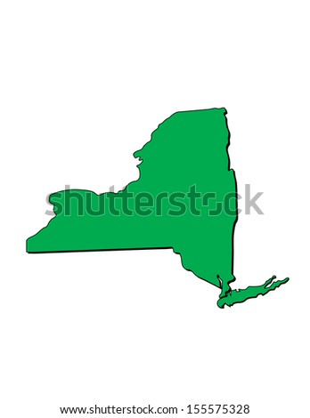 Vector Map of the State of New York; Illustrator 8 - stock vector